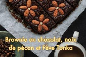 brownie chocolat, noix de pécan et fève tonka
